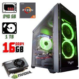 Новый компьютер Frime Grandmaster Green LED, Ryzen 5 1500X, DDR4-16Gb, GTX 1060