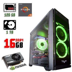Новый компьютер Frime Grandmaster Green, Ryzen 5 1600, DDR4-16Gb, GTX 1060-3Gb