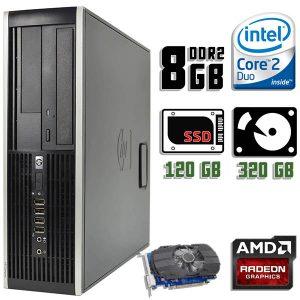 Игровой компьютер б/у HP Compaq DC7900 SFF, 2 ядра, RAM-8Gb, SSD+HDD, Radeon