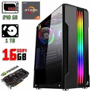 Новый компьютер 1stPlayer R3-A-R1 Color LED Black, Ryzen 5 3600, DDR4-16Gb, GTX 1060