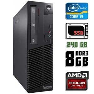 Компьютер б/у Lenovo ThinkCentre M72e SFF, Slim корпус, Core i3 3220, DDR3-8Gb, SSD-240Gb, Radeon HD