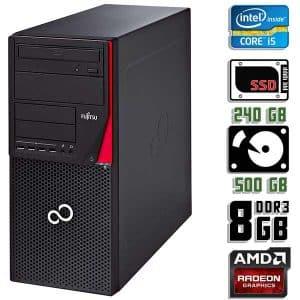 Игровой компьютер б/у Fujitsu Esprimo P720, Core i5 4570, DDR3-8Gb, SSD+HDD, Radeon RX 570