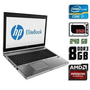Игровой ноутбук б/у HP EliteBook 8570w, Экран 15.6, Core i7 3630QM, FirePro m4000, DDR3-8Gb, SSD-240Gb