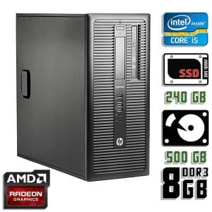 Игровой компьютер б/у HP ProDesk 600 G1, Core i5 4570, DDR3-8Gb, SSD+HDD, Radeon RX 570