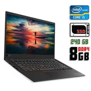 Ноутбук б/у Lenovo ThinkPad X1 Carbon, Экран 14, Core i5 6300U, DDR4-8Gb, SSD-240Gb, Веб-камера