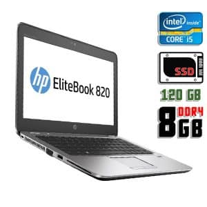Ноутбук б/у HP EliteBook 820 G3, Экран 12.5, Core i5 6200U, DDR4-8Gb, SSD-120Gb, Веб-камера