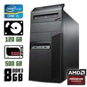 Игровой компьютер б/у Lenovo ThinkCentre M92p, Core i5 3550, DDR3-8Gb, SSD+HDD, Radeon RX 470